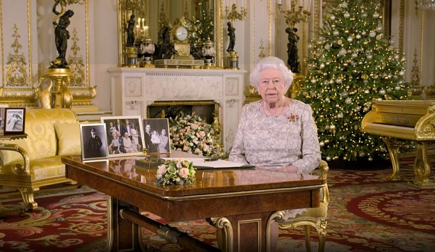 The Queen delivering her Christmas message