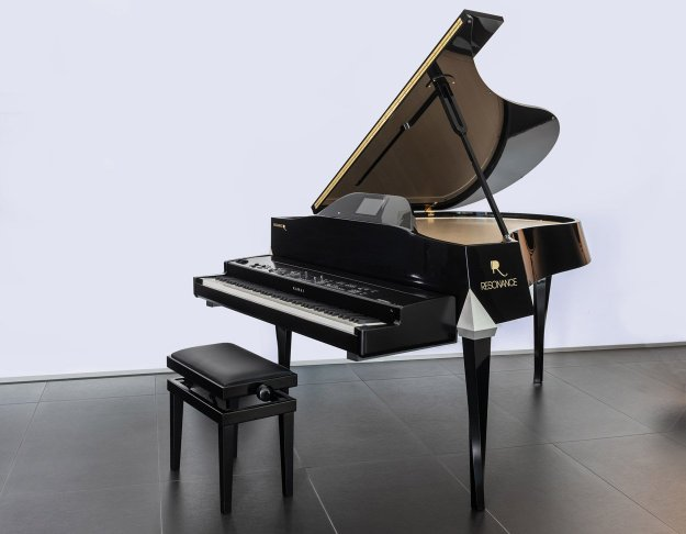Resonance piano showing a digital piano sat on integral support rack