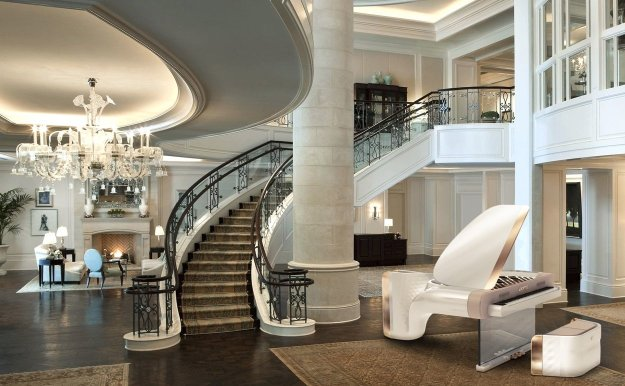 A white Exxeo designer piano in sumptuous surroundings
