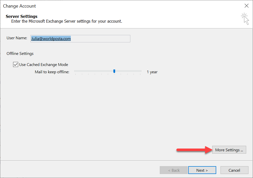 more settings 1 - The outlook is configured to prompt for your credentials
