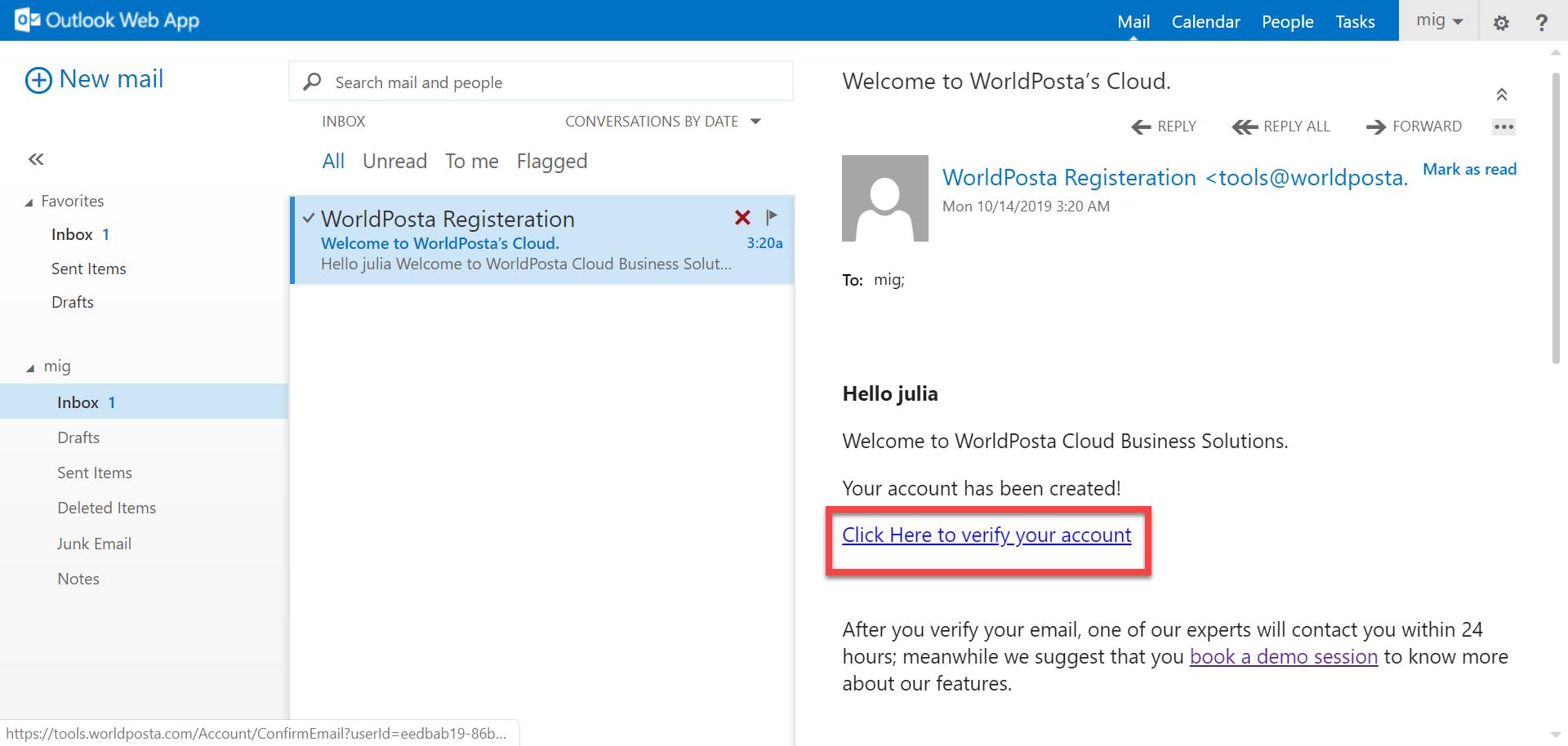 click confirm account - Registration Process