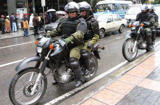 Bolivian Armored Bike Cops
