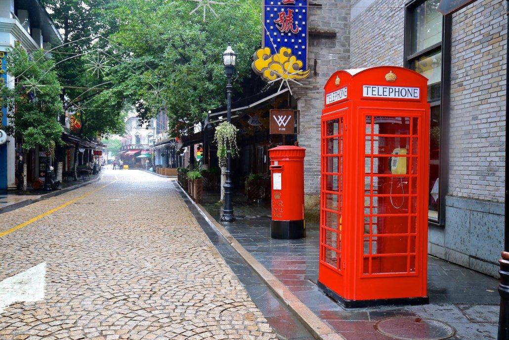 British telephone booth in Ningbo China