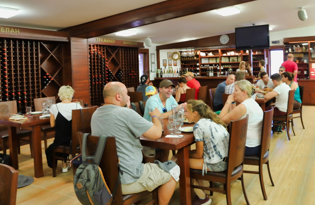 French wine tourists gather in the Salla Estate winery and tasting room to taste—and buy Bulgarian wine.