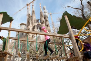 playground with view of Sagrada Familia, Barcelona - @World Travel Mama