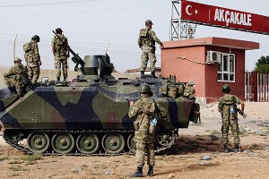 Turkish military station at the border gate with Syria