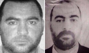 Abu Bakr al-Baghdadi, left, from the National Counterterrorism Center. At right is a more recent photo released by the Iraq Interior Ministry.  /AP