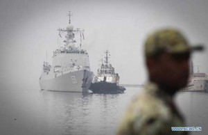 Changchun destroyer of the 17th Chinese escort naval fleet arrives at southern port of Bandar Abbas, Iran, on Sept. 20.  /Xinhua/Ahmad Halabisaz
