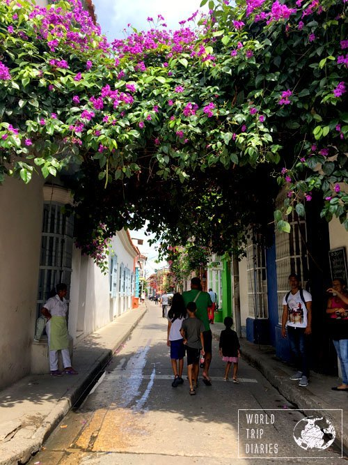 All of the most incredible things we find during our travels with kids is found walking aimlessly around. This street in Cartagena, Colombia, was a beauty.