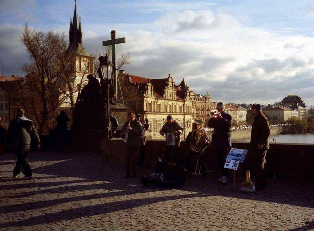 Prague, Buskers on Charles Bridge, Czech Republic