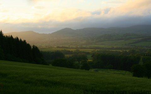 Shropshire dusk in England