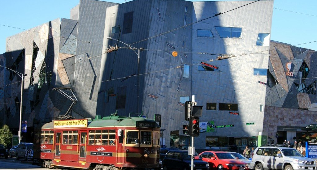 Federation Square and city tram, Melbourne
