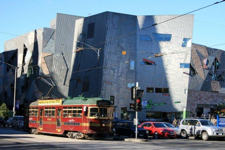 Federation Square and city tram, Melbourne