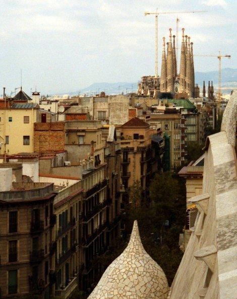 Sagrada Familia from roof of La Pedrera, Barcelona