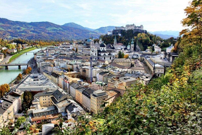 Salzburg old town and Hohensalzburg from the Monksburg