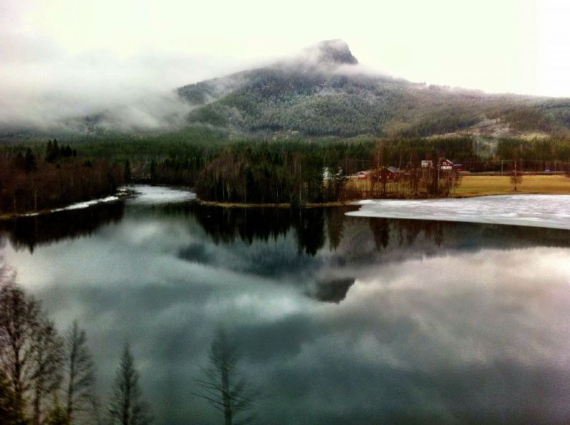 Frozen lakes on the Oslo to Bergen train, Norway