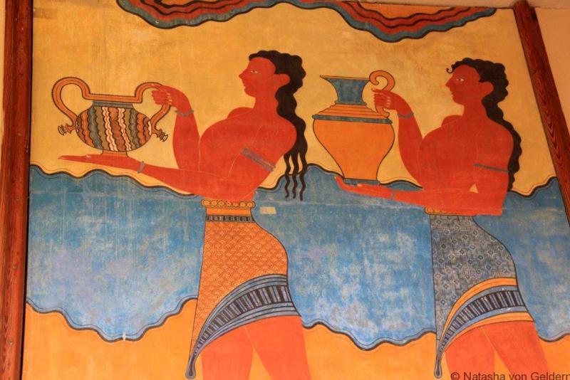 Minoan fresco at Knossos Crete