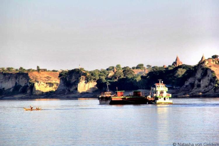Approaching Bagan by boat Myanmar