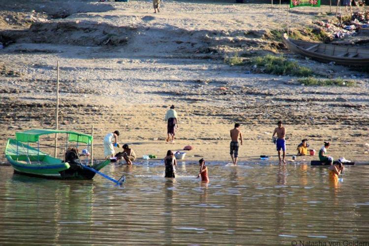 Ayeyarwady River life on the boat Mandalay to Bagan Myanmar