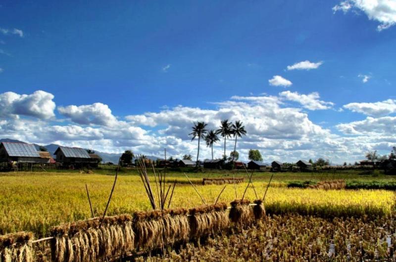 Biking in Myanmar countryside Inle Lake