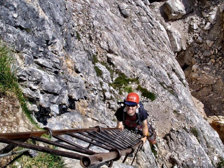 Via ferrata ladder in the Dolomites