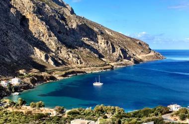 Agrinonta bay and beach on Kalymnos Greece