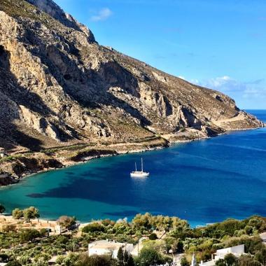 Agrinonta bay and beach on Kalymnos Greece