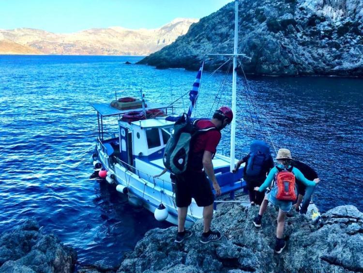 Telendos ferry at Irox Kalymnos climbing holiday