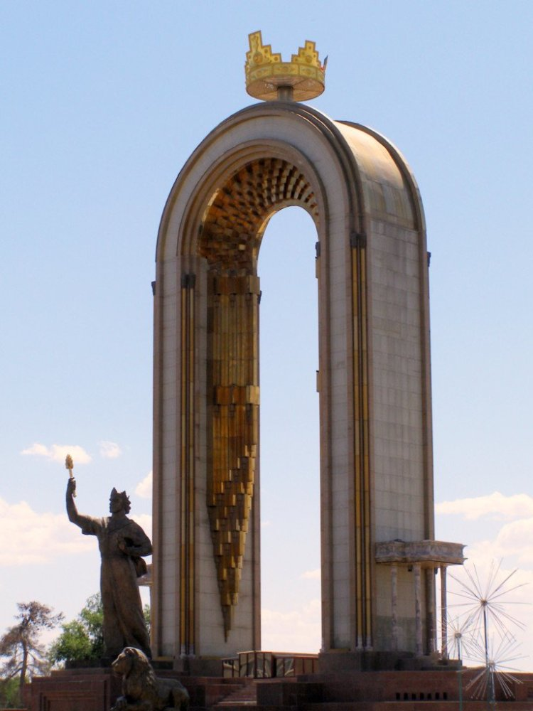 Dushanbe city monument Tajikistan