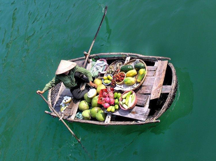 Ha Long Bay fruit seller boat Vietnam