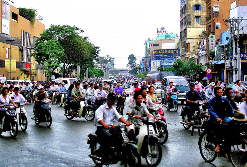 Ho Chi Minh City motorbike traffic Vietnam