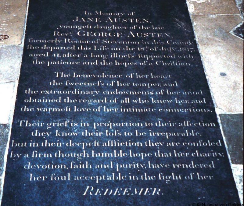 Jane Austen gravestone Winchester Cathedral England