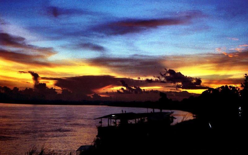 Mekong River sunset in Vientiane Laos