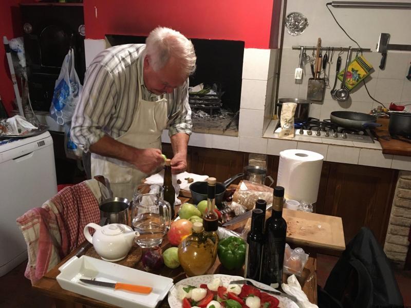 Roberto Feretti in the kitchen at La Scentella, Le Marche Italy