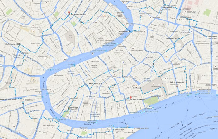 Venice Venezia in one day walking map
