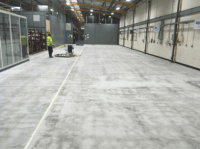 Concrete floor in a warehouse