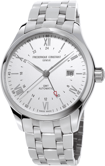 The stainless steel models, with a silver dial are paired either with a black leather strap or a metal bracelet to match the case.