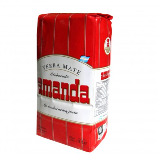 Yerba Mate Amanda 1kg – Yerba Mate Amanda roja – with stems (con palos) – popular brand in South America. The tradition of drinking yerba mate is such an important part of the South American culture, specifically in Uruguay, Paraguay, Argentina and Brazil. Additionally, it is also enjoyed in other South American countries. Typically, it is drunk from a natural gourd (a hollowed out fruit) used as a cup, and then sipped through a metal straw known as a bombilla that has a filtered end to separate the infusion from the yerba leaves.