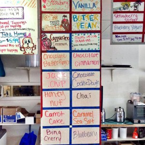 walrus ice cream flavor board