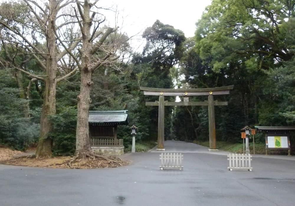 Torii gate at the Meiji Shrine, Tokyo