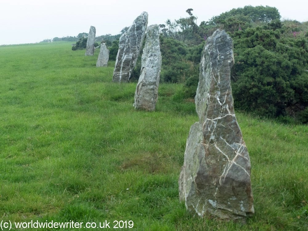 The stones of the Nine Maidens Row, Cornwall