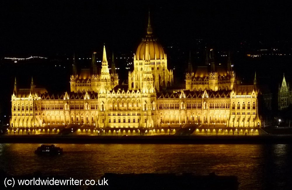 Budapest Parliament buildings lit up at night