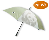 WWF green and white umbrella with panda logo