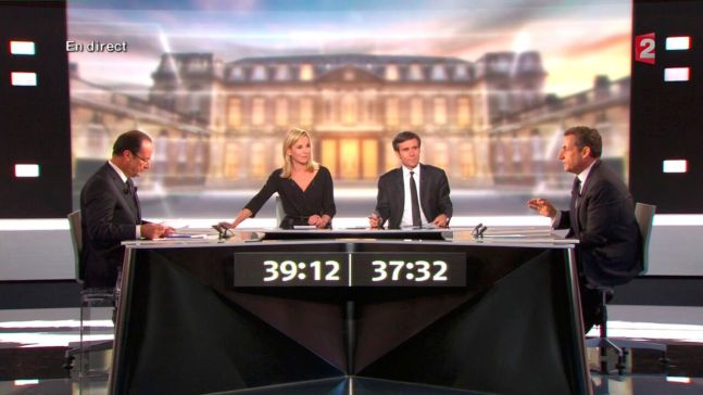 Pendant le débat du second tour, le temps de parole des candidats est chronométré. ©REUTERS/France 2 Television/Handout