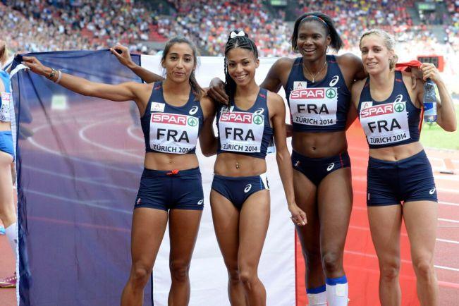 Agnès Raharolahy (à gauche), fait des filles victorieuse du 4x400m  aux Championnat d'Europe d'Athlétisme à Zurich en 2014 ©Steffen Schmidt / EPA/MAXPPP