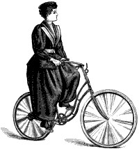 Woman's cycling costume, fastened at ankles. 1895
