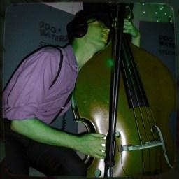 Ken Shepherd licking his stand up bass
