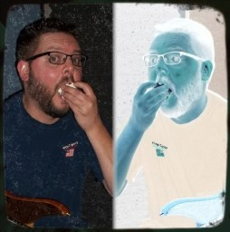 Marcus Mayhall enthusiastically eating popcorn,