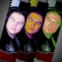 triptych of Bryan Cowell, in different light and color balances, crossing his eyes