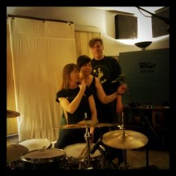 Reno band Blunderbusst posing at Dogwater Studios.